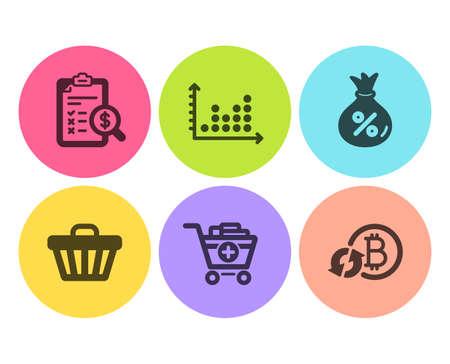 Buchhaltungsbericht, Punktdiagramm und Darlehenssymbole einfach eingestellt. Warenkorb, Produkte hinzufügen und Bitcoin-Zeichen aktualisieren. Überprüfen Sie die Finanzen, Präsentationsdiagramm. Finanzen eingestellt. Flaches Buchhaltungsberichtssymbol. Kreistaste Vektorgrafik