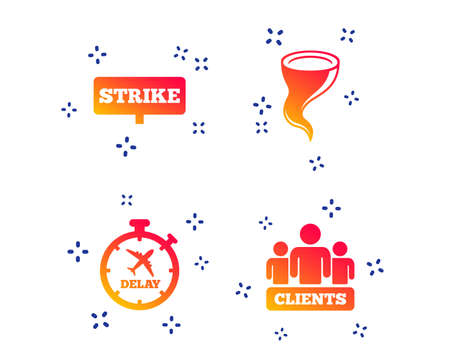 Strike icon. Storm bad weather and group of people signs. Delayed flight symbol. Random dynamic shapes. Gradient strike icon. Vector