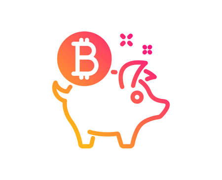 Bitcoin icon. Cryptocurrency coin sign. Piggy bank money symbol. Classic flat style. Gradient bitcoin coin icon. Vector Ilustracja
