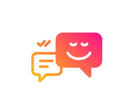 Message speech bubbles with Smile icon. Chat emotion sign. Classic flat style. Gradient happy emotion icon. Vector Banco de Imagens - 123946409