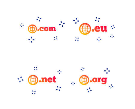Top-level internet domain icons. Com, Eu, Net and Org symbols with globe. Unique DNS names. Random dynamic shapes. Gradient domain icon. Vector