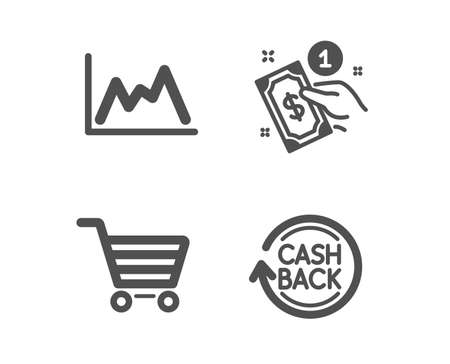 Set of Diagram, Payment method and Market sale icons. Cashback sign. Growth graph, Give money, Customer buying. Refund commission.  Classic design diagram icon. Flat design. Vector