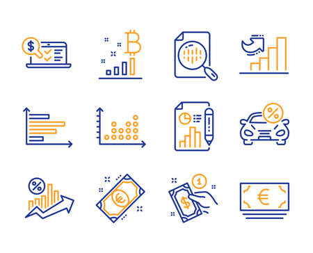 Analytics chart, Online accounting and Report document icons simple set. Dot plot, Horizontal chart and Car leasing signs. Euro money, Payment method and Loan percent symbols. Vector