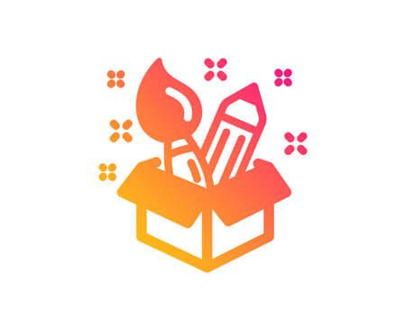Creativity icon. Design idea sign. Brush and pencil symbol. Classic flat style. Gradient creativity icon. Vector Illustration