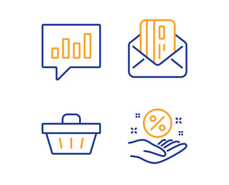 Shopping basket, Credit card and Analytical chat icons simple set. Loan percent sign. Sale offer, Mail, Communication speech bubble. Discount hand. Finance set. Linear shopping basket icon. Vector Иллюстрация