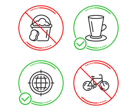 Do or Stop. Teacup, Seo internet and Sponge icons simple set. Bicycle sign. Tea or latte, Globe, Cleaner bucket. Bike. Line teacup do icon. Prohibited ban stop. Good or bad. Vector