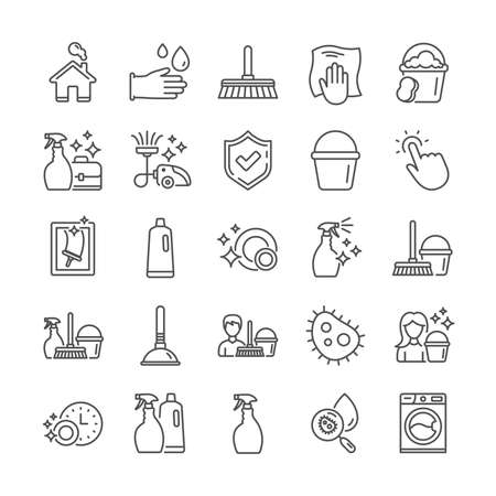 Cleaning line icons. Laundry, Vacuum cleaner and Window sponge icons. Washing machine, Housekeeping service and Maid cleaner equipment. Window cleaning, Wipe off, laundry washing machine. Vector Reklamní fotografie - 120440339