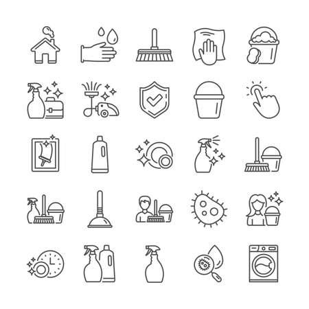 Icônes de ligne de nettoyage. Icônes de blanchisserie, d'aspirateur et d'éponge de fenêtre. Machine à laver, Service de ménage et Matériel de femme de ménage. Lavage des vitres, Essuyage, lave linge. Vecteur