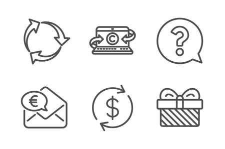 Usd exchange, Question mark and Copywriting notebook icons simple set. Recycle, Euro money and Gift signs. Currency rate, Help support. Business set. Line usd exchange icon. Editable stroke. Vector