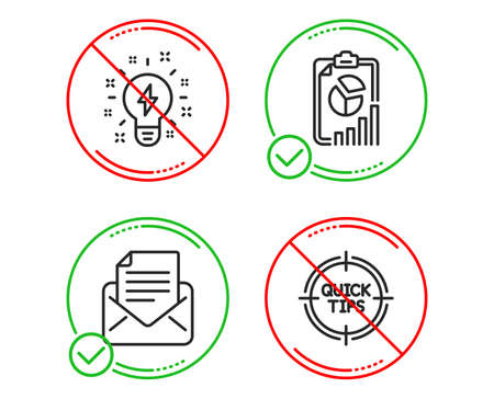 Do or Stop. Mail correspondence, Inspiration and Report icons simple set. Tips sign. E-mail newsletter, Creativity, Presentation chart. Quick tricks. Education set. Line mail correspondence do icon