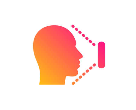 Face scanning icon. Phone Face id sign. Head identification symbol. Classic flat style. Gradient face id icon. Vector