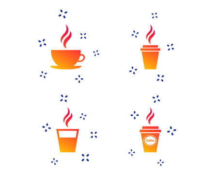 Coffee cup icon. Hot drinks glasses symbols. Take away or take-out tea beverage signs. Random dynamic shapes. Gradient coffee icon. Vector