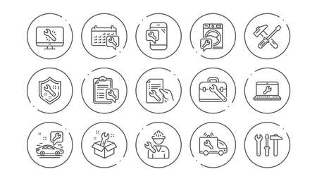 Repair line icons. Hammer, Screwdriver and Spanner tool. Washing machine repair linear icon set. Line buttons with icon. Editable stroke. Vector