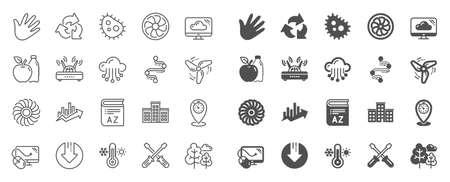 Company building, Vocabulary, Profits timeline line icons. Turbine, Wind, Thermostat icons. Tree, Bacteria, Healthy food. Company chart, wind turbine. Cloud services, Timeline, Download. Vector Ilustração
