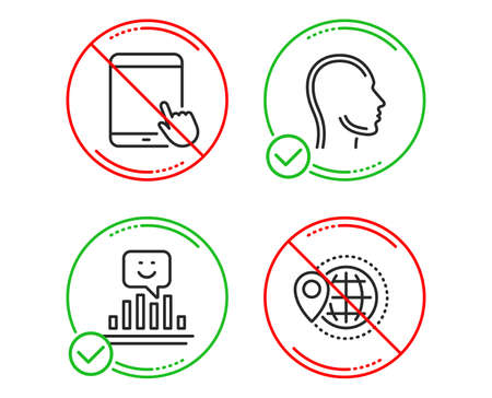 Do or Stop. Head, Tablet pc and Smile icons simple set. World travel sign. Human profile, Touchscreen gadget, Positive feedback. Map pointer. Business set. Line head do icon. Prohibited ban stop