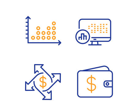 Payment exchange, Dot plot and Report statistics icons simple set. Dollar wallet sign. Money transfer, Presentation graph, Graph chart. Cash money. Finance set. Linear payment exchange icon. Vector Ilustração