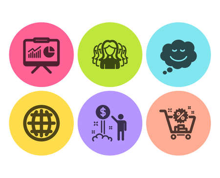 Women group, Income money and Globe icons simple set. Speech bubble, Presentation and Shopping cart signs. Lady service, Wealth. Business set. Flat women group icon. Circle button. Vector