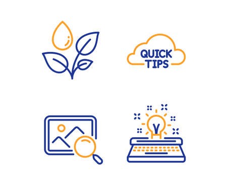 Quick tips, Search photo and Plants watering icons simple set. Typewriter sign. Helpful tricks, Find image, Water drop. Inspiration. Business set. Linear quick tips icon. Colorful design set. Vector Illustration