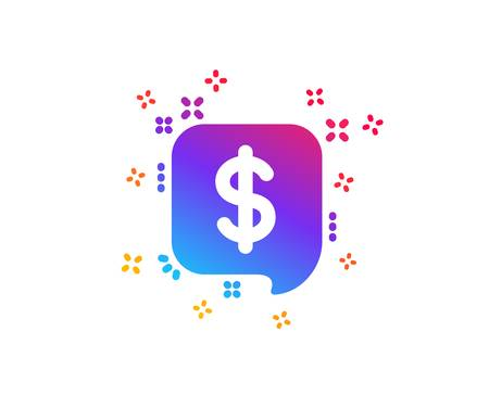 Payment received icon. Dollar sign. Finance symbol. Dynamic shapes. Gradient design payment message icon. Classic style. Vector