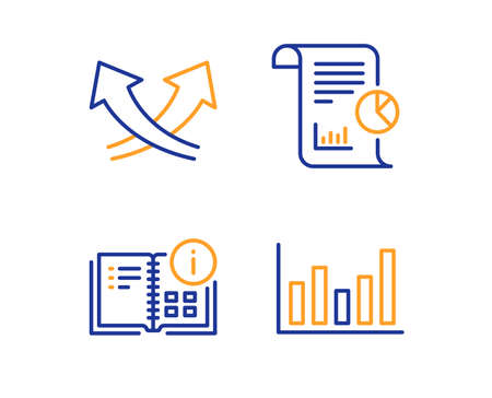 Intersection arrows, Instruction info and Report icons simple set. Column chart sign. Exchange, Project, Work analysis. Financial graph. Science set. Linear intersection arrows icon. Vector