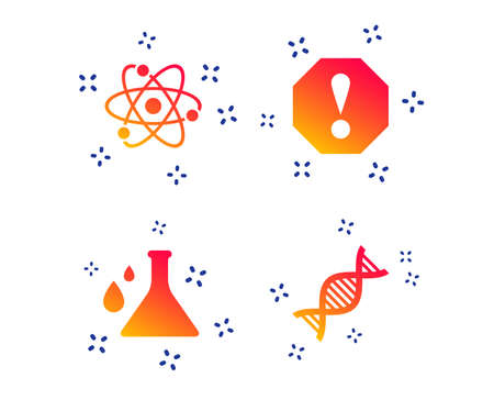 Attention and DNA icons. Chemistry flask sign. Atom symbol. Random dynamic shapes. Gradient dna icon. Vector Illustration