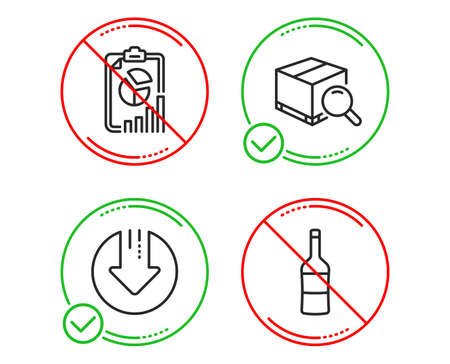 Do or Stop. Download arrow, Search package and Report icons simple set. Wine sign. Crisis, Tracking service, Presentation chart. Merlot bottle. Business set. Line download arrow do icon. Vector Stock Illustratie