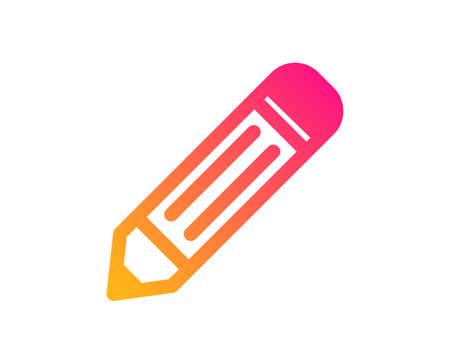 Bleistift-Symbol. Zeichen bearbeiten. Symbol für Zeichnungs- oder Schreibgeräte. Klassischer flacher Stil. Farbverlauf Bleistiftsymbol. Vektor