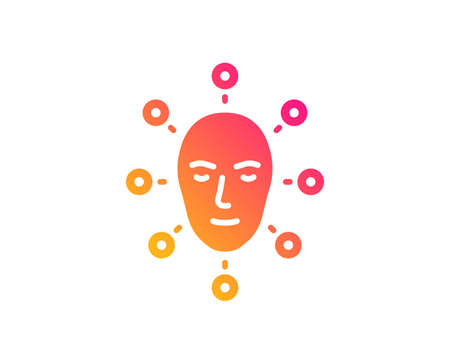 Face biometrics icon. Facial recognition sign. Head scanning symbol. Classic flat style. Gradient face biometrics icon. Vector