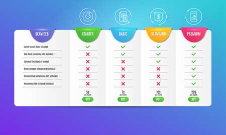 Payment, Payment message and Download arrow icons simple set. Comparison table. Smartphone statistics sign. Cash money, Finance, Crisis. Mobile business. Finance set. Pricing plan. Vector