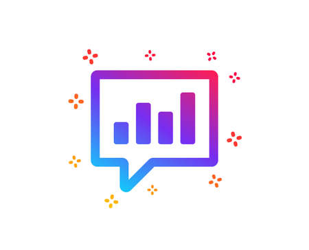 Chart icon. Report graph or Sales growth sign in speech bubble. Analysis and Statistics data symbol. Dynamic shapes. Gradient design analytical Chat icon. Classic style. Vector Çizim