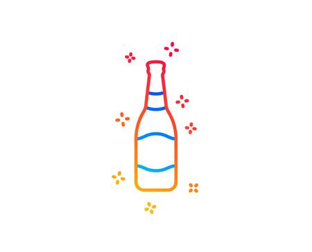 Beer bottle line icon. Pub Craft beer sign. Brewery beverage symbol. Gradient design elements. Linear beer bottle icon. Random shapes. Vector