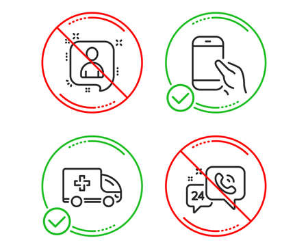 Do or Stop. Ambulance emergency, Developers chat and Hold smartphone icons simple set. 24h service sign. Medical transport, Manager talk, Phone call. Call support. Line ambulance emergency do icon Stockfoto - 123946512