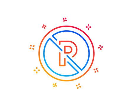 No parking line icon. Car park not allowed sign. Transport garage symbol. Gradient design elements. Linear no parking icon. Random shapes. Vector