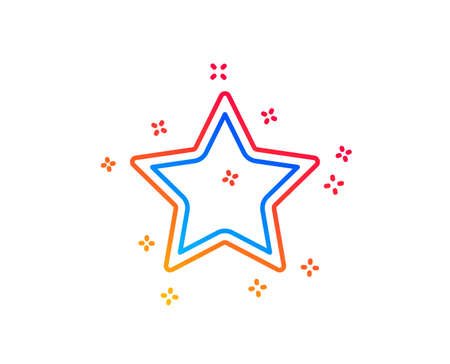 Star line icon. Best rank sign. Bookmark or Favorite symbol. Gradient design elements. Linear star icon. Random shapes. Vector Illustration