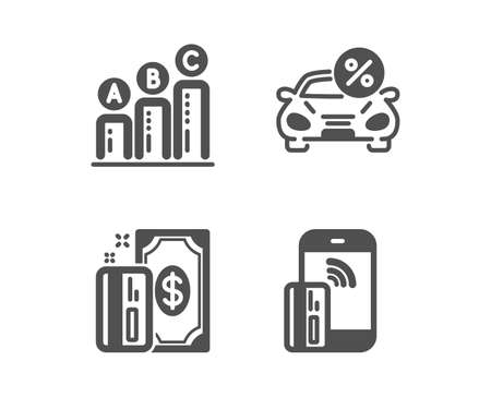 Set of Payment, Car leasing and Graph chart icons. Contactless payment sign. Cash money, Transport discount, Growth report. Phone money.  Classic design payment icon. Flat design. Vector Illustration