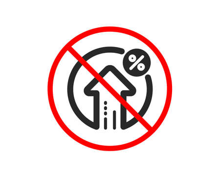 No or Stop. Loan percent growth icon. Discount sign. Credit percentage symbol. Prohibited ban stop symbol. No loan percent icon. Vector Stock Vector - 123946522