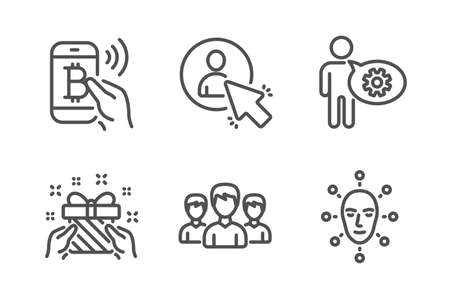 Gift, Bitcoin pay and Cogwheel icons simple set. Group, User and Face biometrics signs. Present, Mobile payment. People set. Line gift icon. Editable stroke. Vector Illustration