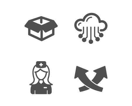Set of Cloud storage, Hospital nurse and Opened box icons. Intersection arrows sign. Data service, Medical assistant, Shipping parcel. Exchange.  Classic design cloud storage icon. Flat design. Vector