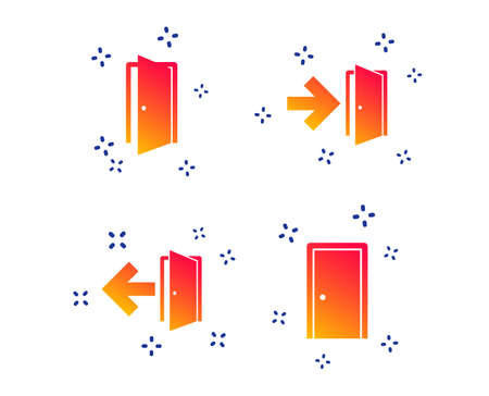 Doors icons. Emergency exit with arrow symbols. Fire exit signs. Random dynamic shapes. Gradient door icon. Vector Archivio Fotografico - 123946526