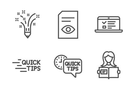 Web lectures, Education and Quick tips icons simple set. View document, Inspiration and Woman read signs. Online test, Quick tips. Education set. Line web lectures icon. Editable stroke. Vector