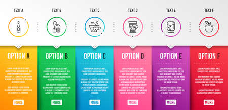 Frappe, Tea cup and Tea bag icons simple set. Champagne, Water cooler and Apple signs. Cold drink, Coffee with spoon. Food and drink set. Infographic template. 6 steps timeline. Business options Illustration