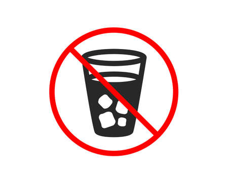 No or Stop. Ice tea icon. Soda drink sign. Fresh cold beverage symbol. Prohibited ban stop symbol. No ice tea icon. Vector Stock Vector - 123946535