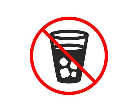 No or Stop. Ice tea icon. Soda drink sign. Fresh cold beverage symbol. Prohibited ban stop symbol. No ice tea icon. Vector