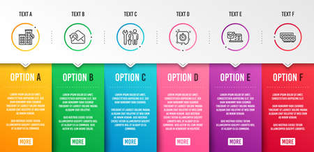 Online survey, Timer and Send mail icons simple set. Repairman, Loan house and Ram signs. Quiz test, Time management. Technology set. Infographic template. 6 steps timeline. Business options. Vector