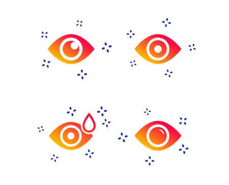 Eye icons. Water drops in the eye symbols. Red eye effect signs. Random dynamic shapes. Gradient eye icon. Vector Illustration