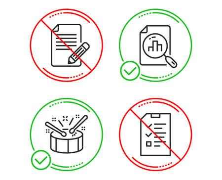 Do or Stop. Article, Analytics graph and Drums icons simple set. Interview sign. Feedback, Chart report, Drumsticks. Checklist file. Line article do icon. Prohibited ban stop. Good or bad. Vector Ilustração