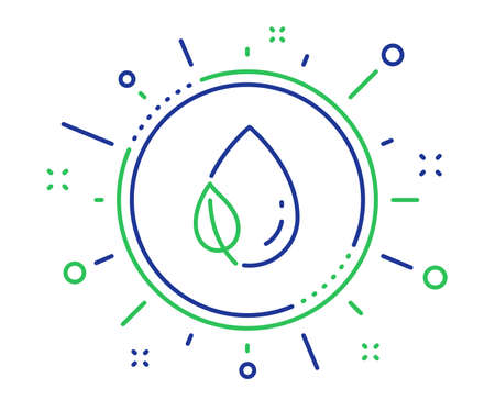 Mint leaf with water drop line icon. Nature plant dew sign. Environmental care symbol. Quality design elements. Technology leaf dew button. Editable stroke. Vector