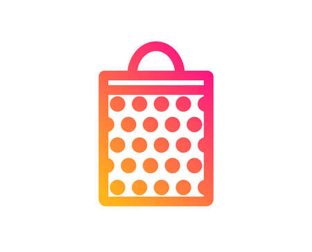 Shopping bag with circles icon. Present or Sale sign. Birthday Shopping symbol. Package in Gift Wrap. Classic flat style. Gradient shopping bag icon. Vector Illustration