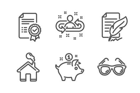 Recruitment, Certificate and Saving money icons simple set. Feather signature, Home and Sunglasses signs. Manager change, Verified document. Business set. Line recruitment icon. Editable stroke