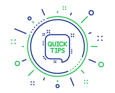 Quick tips line icon. Helpful tricks speech bubble sign. Quality design elements. Technology quick tips button. Editable stroke. Vector